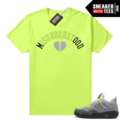 Sneakers Outfit Neon 4s Jordan t-shirt match Volt Misunderstood