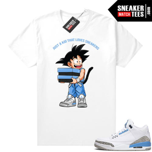 UNC 3 Jordan shirt to match sneakers Just A Kid