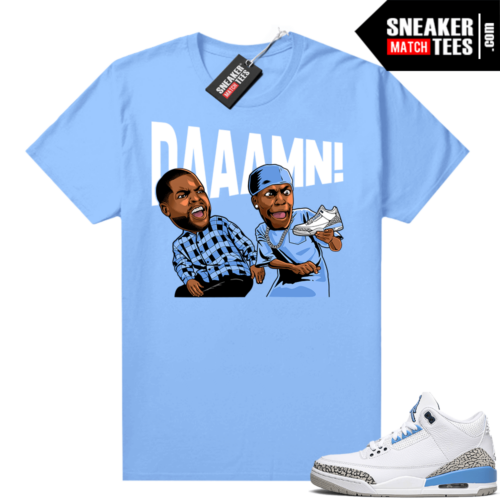 UNC 3s shirt match Carolina Blue DAAAMN
