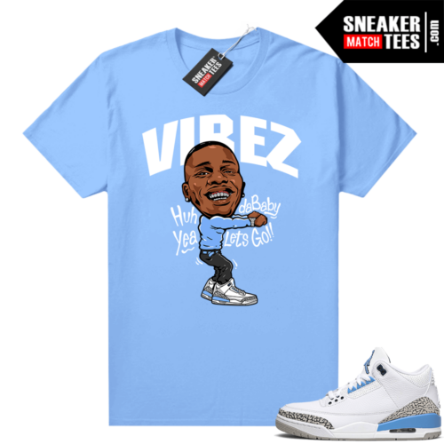 UNC 3s shirt match Carolina Blue Dababy Vibez