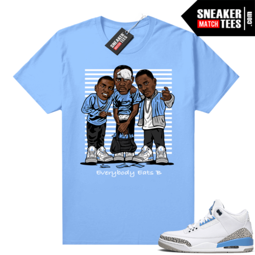 UNC 3s shirt match Carolina Blue Everybody Eats B