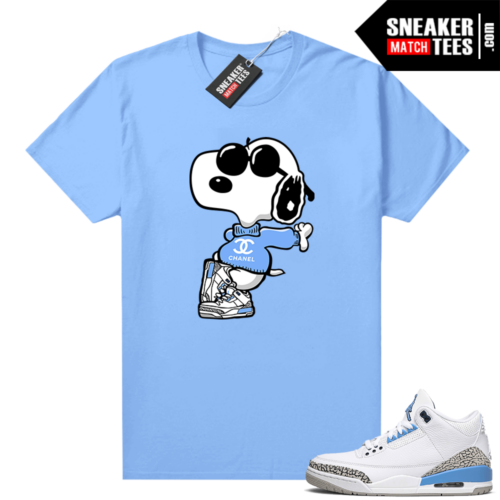 UNC 3s shirt match Carolina Blue Fly Snoopy