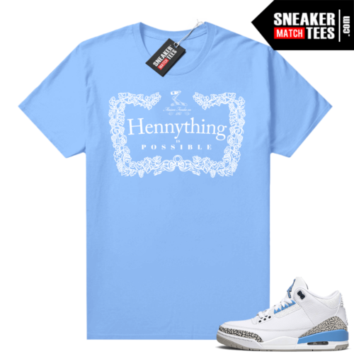 UNC 3s shirt match Carolina Blue Hennything
