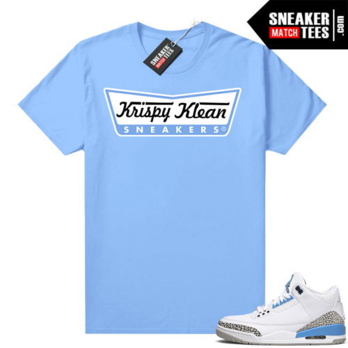 UNC 3s shirt match Carolina Blue Krispy Klean Sneakers