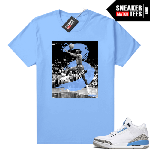 UNC 3s shirt match Carolina Blue MJ in the 3s