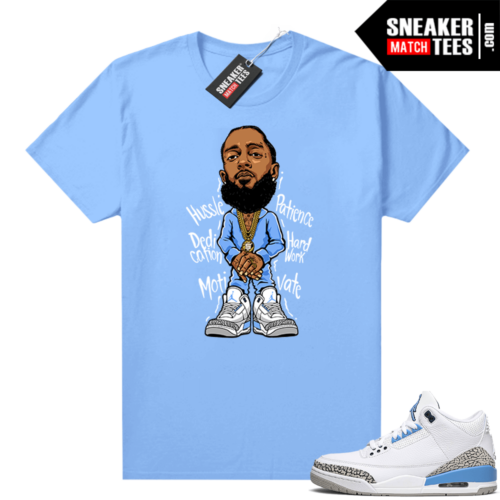 UNC 3s shirt match Carolina Blue Nipsey Hussle