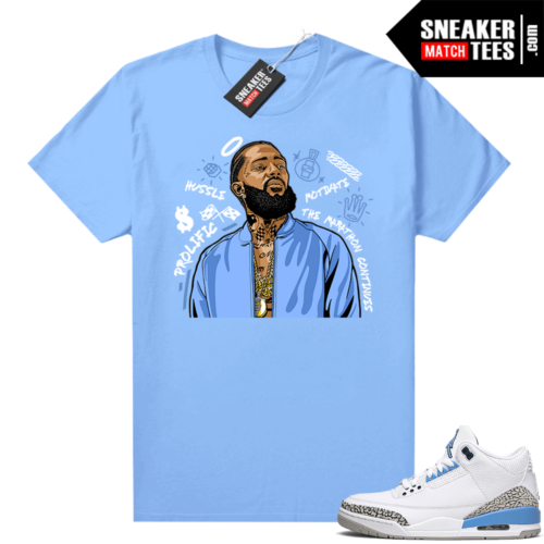 UNC 3s shirt match Carolina Blue Nipsey Tribute