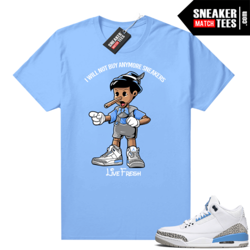 UNC 3s shirt match Carolina Blue Pinocchio