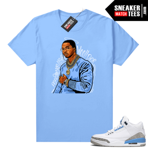 UNC 3s shirt match Carolina Blue Pop Smoke Tribute