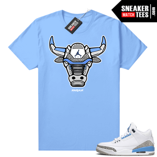 UNC 3s shirt match Carolina Blue Rare Air Bull