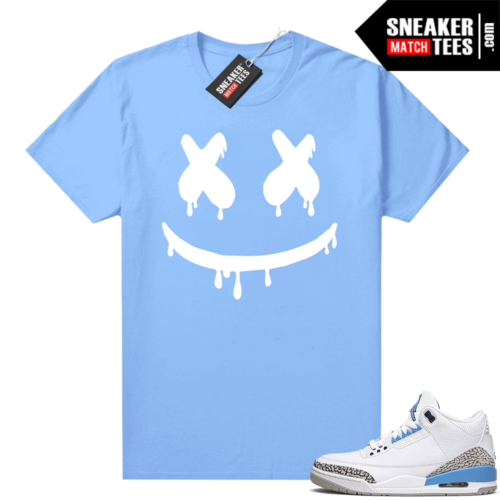 UNC 3s shirt match Carolina Blue Smiley Drip