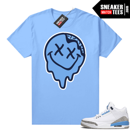 UNC 3s shirt match Carolina Blue Smiley Slime