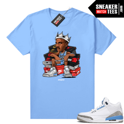 UNC 3s shirt match Carolina Blue Sneaker King