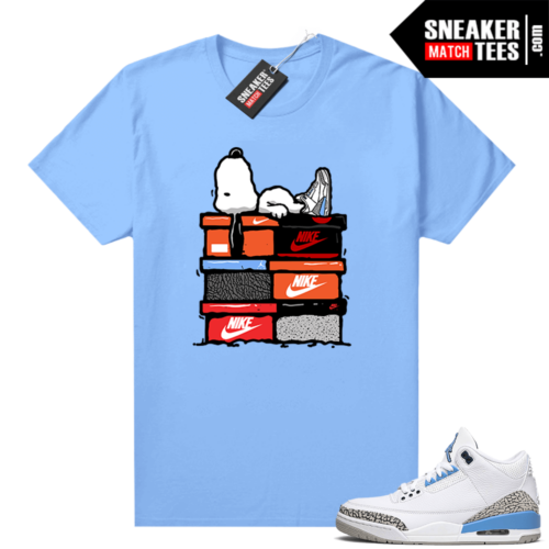 UNC 3s shirt match Carolina Blue Sneakerhead Snoopy