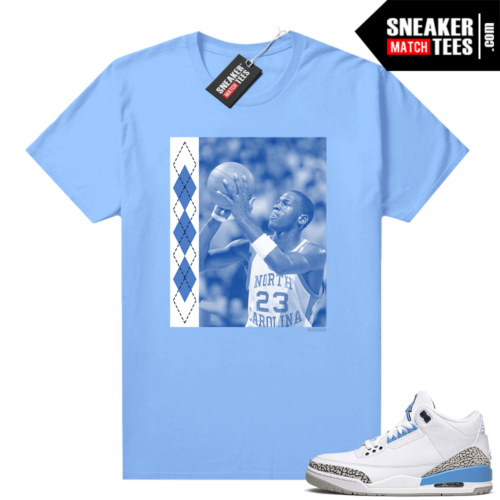 UNC 3s shirt match Carolina Blue UNC MJ