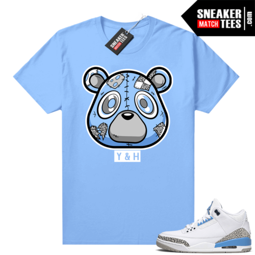 UNC 3s sneaker tees shirt Carolina Heartless Bear