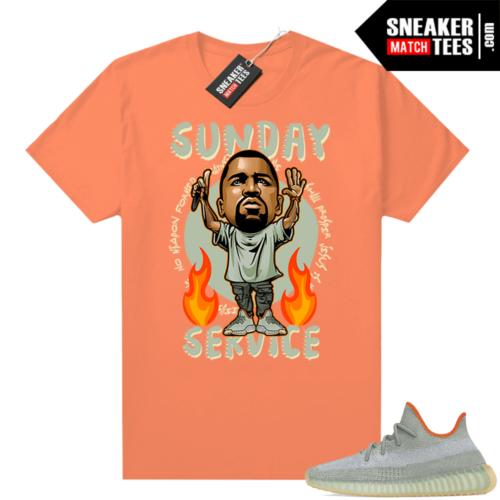 Yeezy 350 Desert Sage Shirt Neon Orange Sunday Service Ye Toon