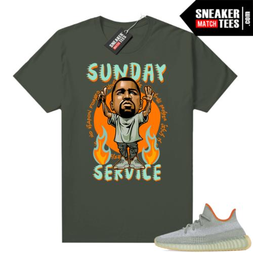 Yeezy 350 Desert Sage Shirt Olive Sunday Service Ye Toon