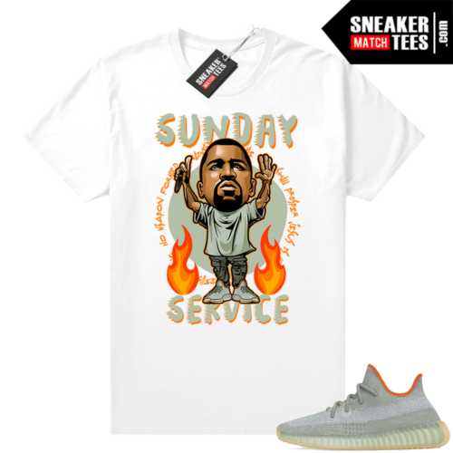 Yeezy 350 Desert Sage Shirt White Sunday Service Ye Toon