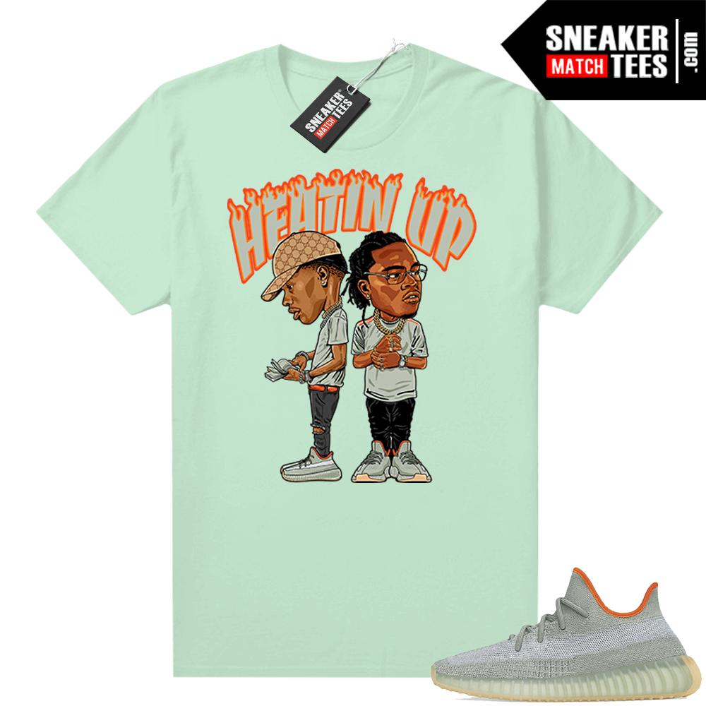 Yeezy Boost 350 V2 Desert Sage Sneaker shirt Mint Heatin Up