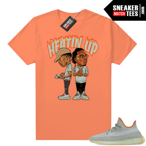 Yeezy Boost 350 V2 Desert Sage Sneaker tees Orange Heatin Up