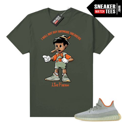 Yeezy Boost 350 V2 Desert Sage tees Olive Sneakerhead Pinocchio