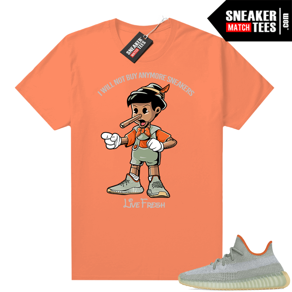 Yeezy Boost 350 V2 Desert Sage tees Orange Sneakerhead Pinocchio