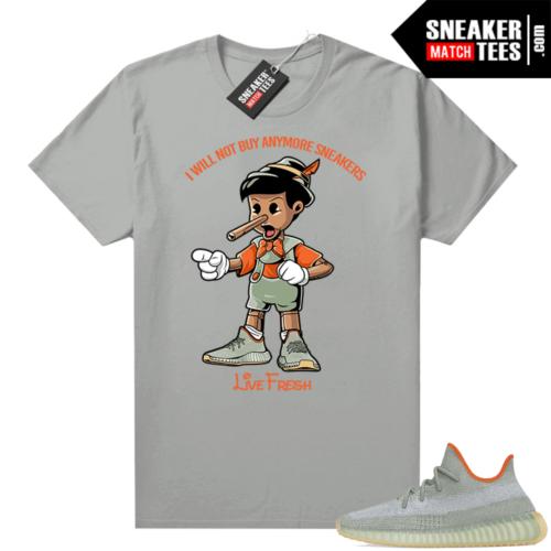 Yeezy Boost 350 V2 Desert Sage tees Platinum Sneakerhead Pinocchio