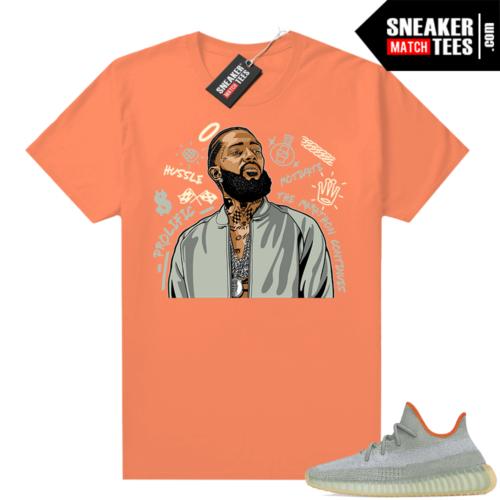 Yeezy shirt match Desert Sage 350 Nipsey Tribute Orange