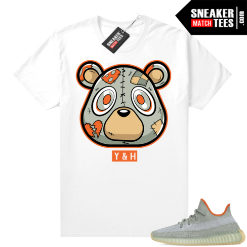 Yeezy shirt outfit Desert Sage 350 Heartless Bear White
