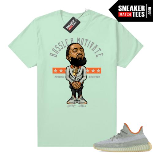 Yeezy sneaker tees Desert Sage 350 Mint Hussle Motivate