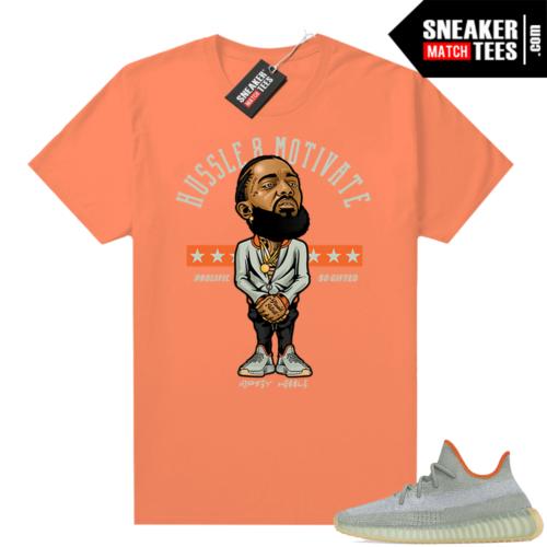 Yeezy sneaker tees Desert Sage 350 Orange Hussle Motivate