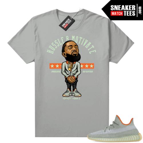 Yeezy sneaker tees Desert Sage 350 Platinum Hussle Motivate