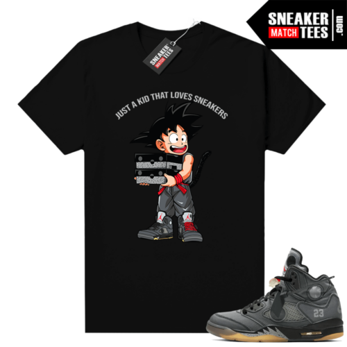 Off white 5s Jordan shirt black Just a Kid