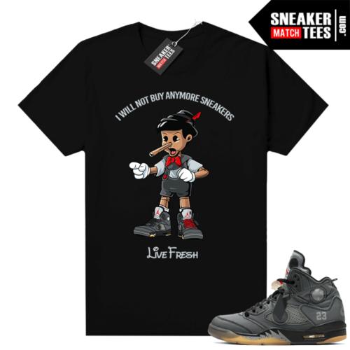 off white 5s Jordan shirt black Pinocchio