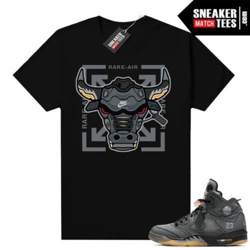 Off white 5s Jordan shirt black Rare Air Bull
