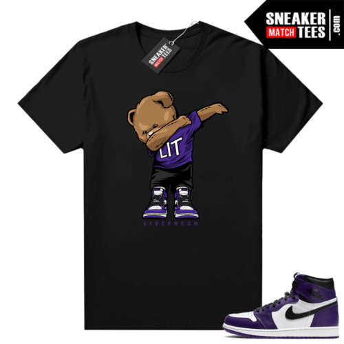 Court Purple 1s Jordan Graphic tees Dabbin Bear