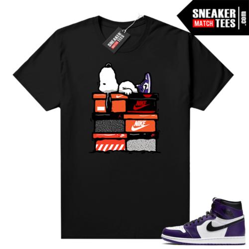 Court Purple 1s Jordan Graphic tees Sneakerhead Snoopy