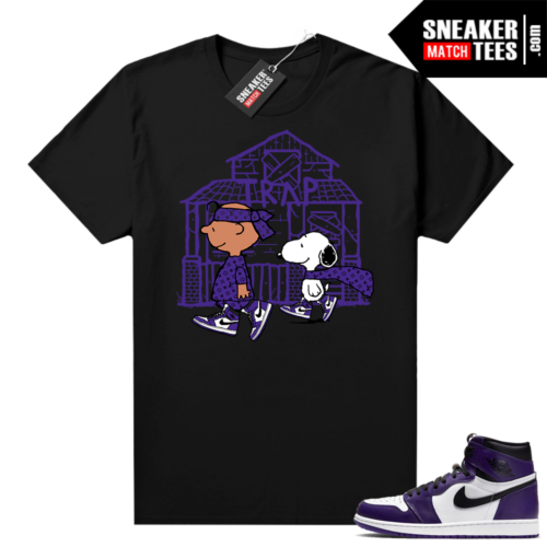 Court Purple 1s Jordan Graphic tees Snoopy Trap House