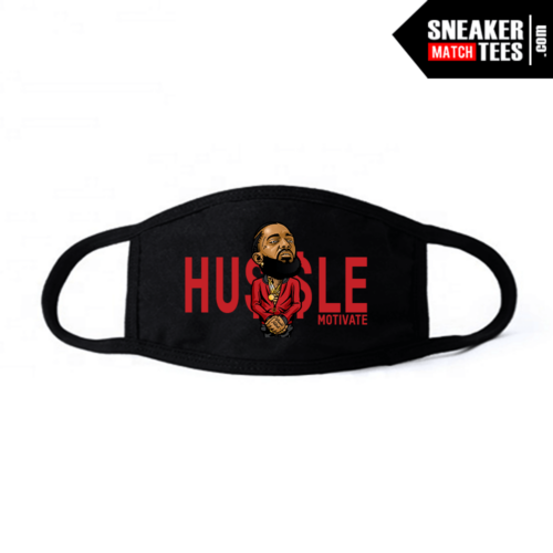 Face Mask Black Bred 11 Hussle Motivate