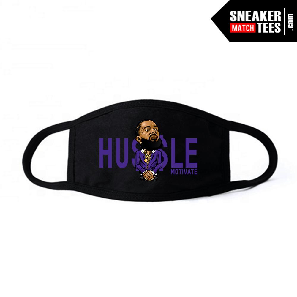 Face Mask Black Court Purple 1s Hussle Motivate