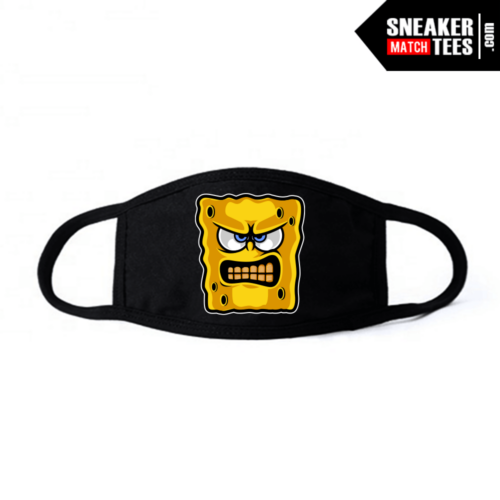 Face Mask Black DMP 6s Angry Spongebob