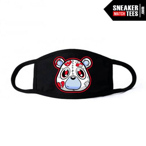 Face Mask Black Fire Red 5s Heartless Bear