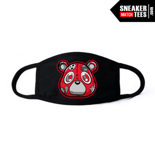 Face Mask Black Red Cement 3s Heartless Bear