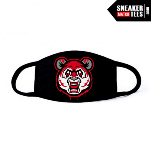 Face Mask Black Red Cement 3s Tiger Gang