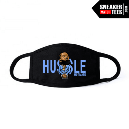 Face Mask Black UNC 3s Hussle Motivate