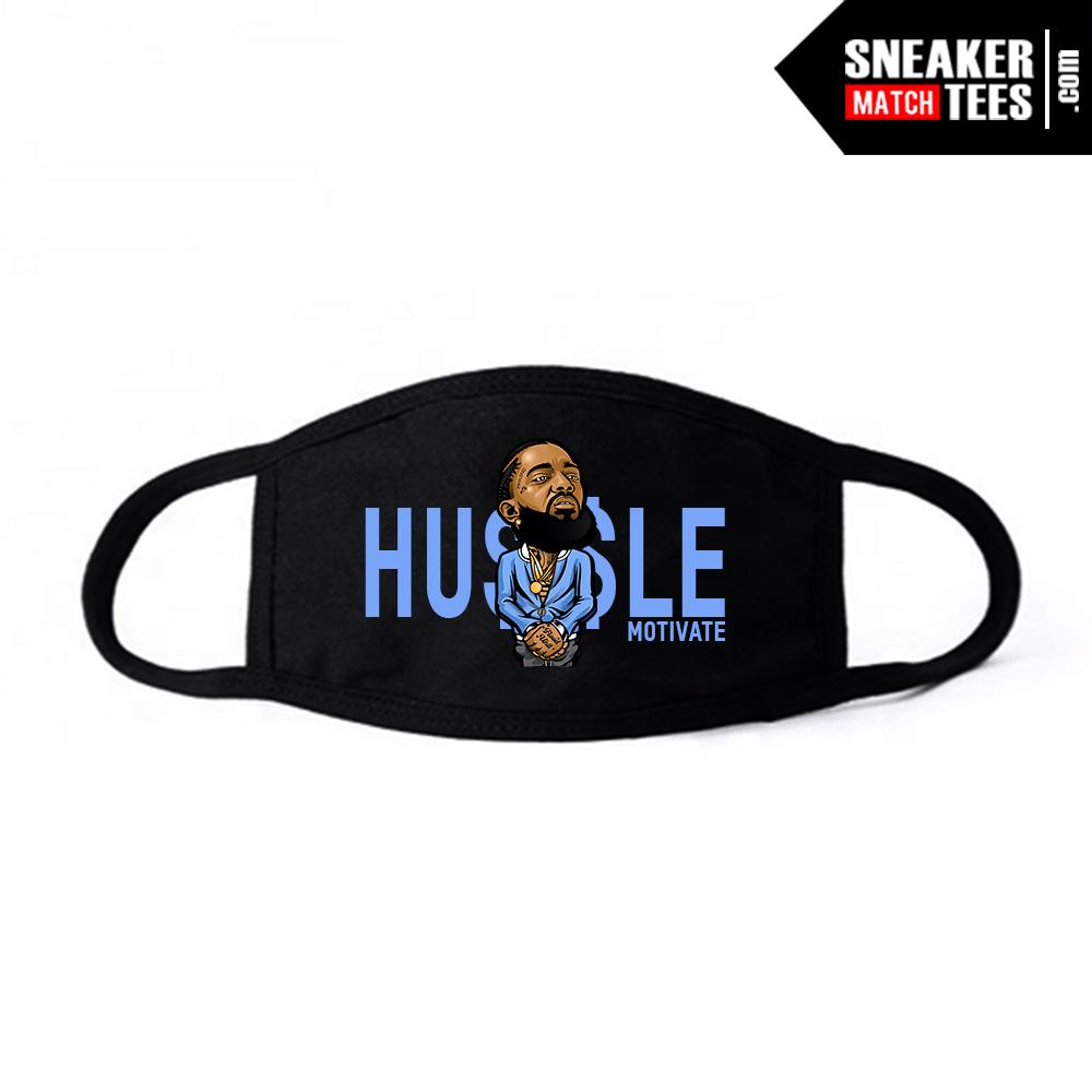 Face Mask Black UNC 3s Hussle Motivate