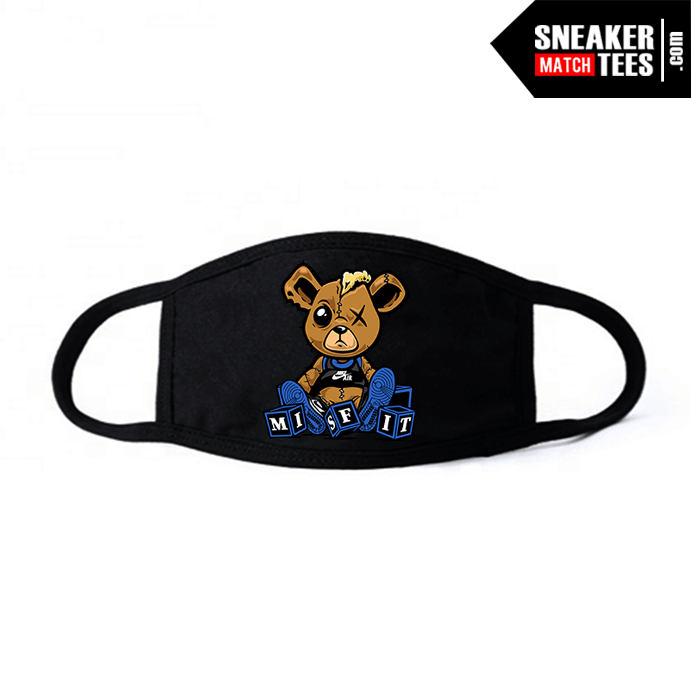 Face Mask Black White Royal 1s Misfit Teddy