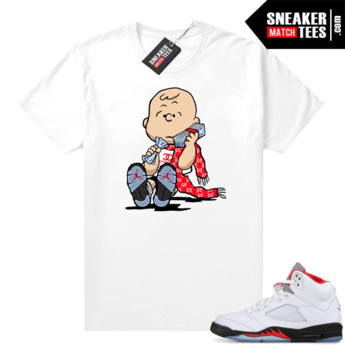 Fire Red 5s Jordan Graphic Tees Charlie Brown
