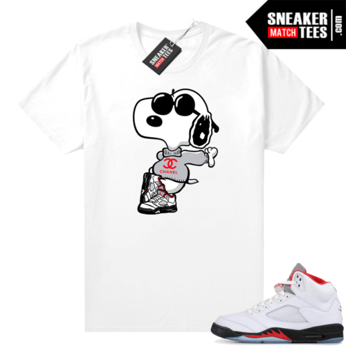 Fire Red 5s Jordan Graphic Tees Fly Snoopy